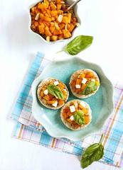 Pumpkin bruschetta. Bruschetta with roasted pumpki…
