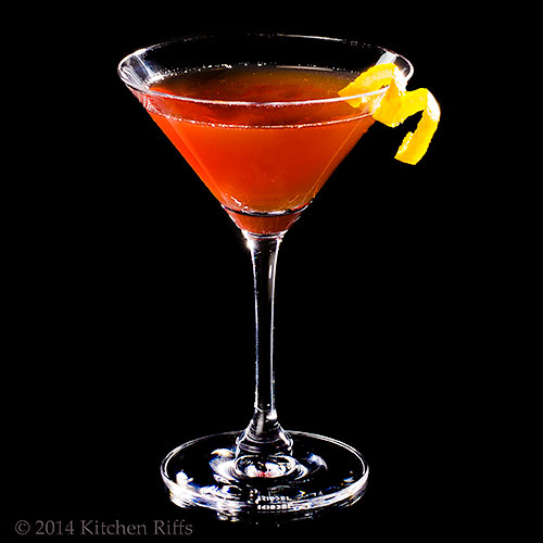 Delmonico Cocktail with orange twist garnish