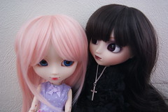nose, hime cut, black hair, face, hairstyle, clothing, purple, skin, red, head, hair, wig, blue, pink, doll, eye, organ, toy,