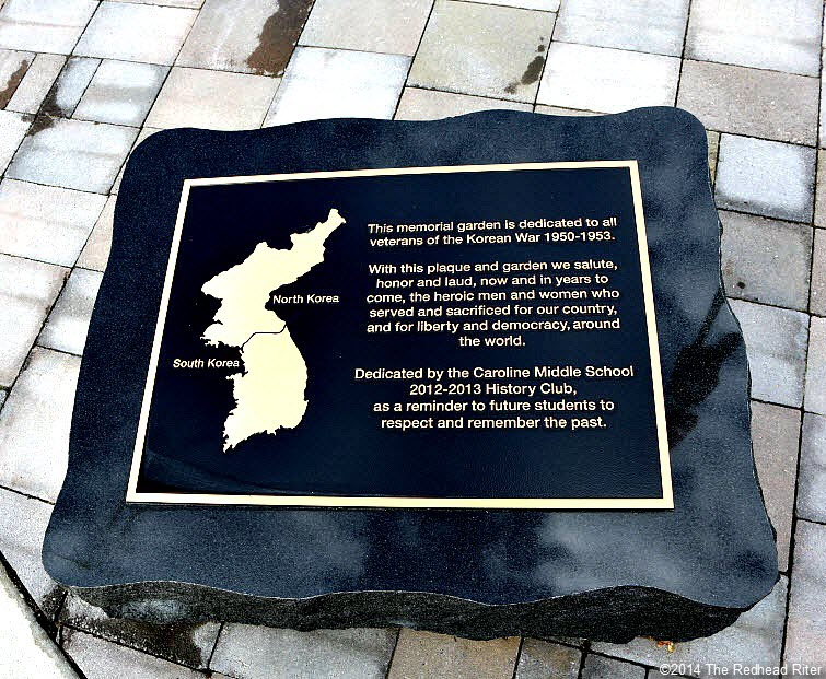 38th Parallel Memorial Garden plaque in Milford Virginia