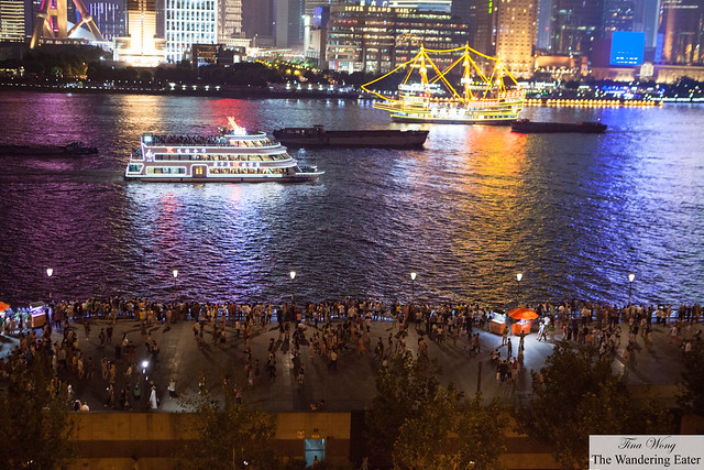 The large crowds on the waterfront of The Bund