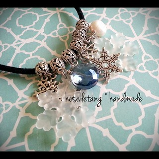 Custom Order - Tibetan Silver, Pearl and Glass Hair-tie