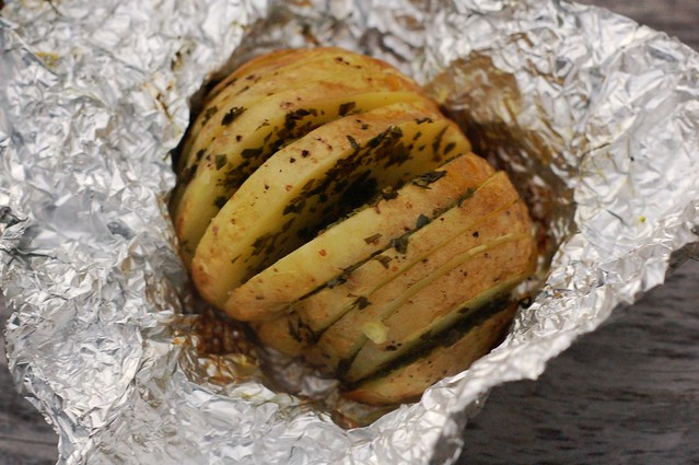 Grilled Herb Potatoes in Foil Jackets by Eve Fox, The Garden of Eating, copyright 2014