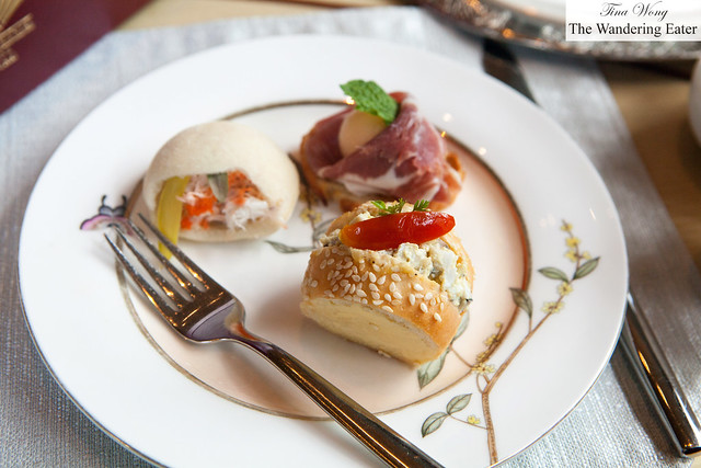 My finger sandwiches - Prosciutto and melon with mint, tuna salad, snow crab with tobiko roe