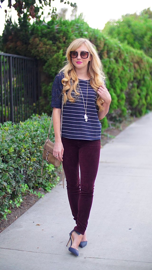 navy striped shell top