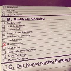 Sådan kan en stemmeseddel se ud. #FV15 #magentalove #aarhus
