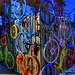 Wall of Colorful Bicycles