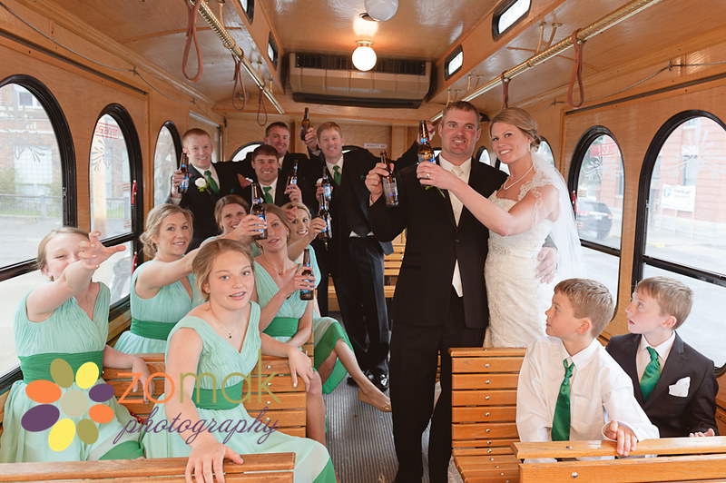 bridal party ride in butte trolley from ceremony to reception