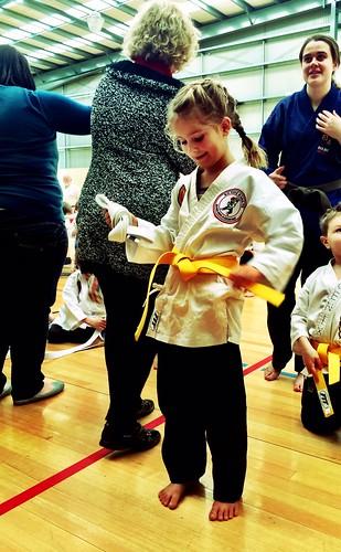 Karate Grading: Happy Yellow Belted Zoe