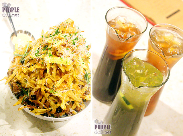 Lemon, Green and Peach Iced Tea (P149 each) and Pork and Potato Strips (P339)