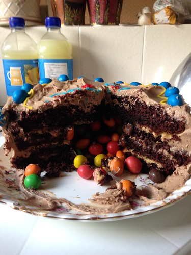 Peanut Butter, Chocolate and M&M birthday cake