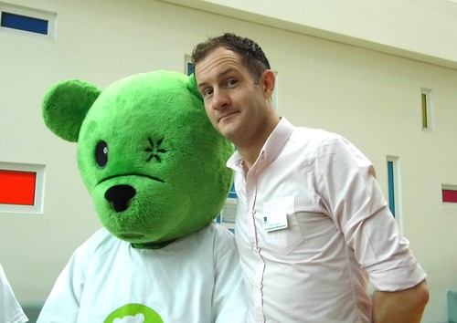 Festival Director James Draper and Humphrey the Hospital Bear