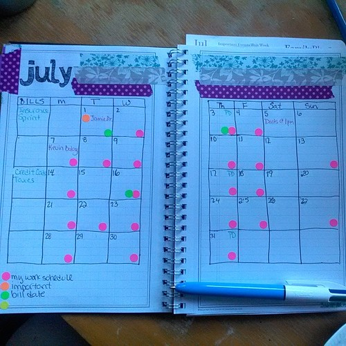 My month on two pg for #onebookjuly2014 I took inspiration from @clfharling who sketched in her month in as well.