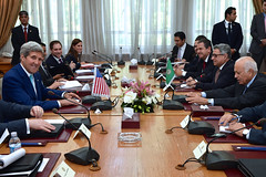 U.S. Secretary of State John Kerry sits across from Arab League Secretary-General Nabil al-Araby at Arab League Headquarters in Cairo, Egypt, on July 22, 2014, before a discussion about a possible ceasefire between Israeli and Hamas forces fighting in the Gaza Strip. [State Department photo/ Public Domain]