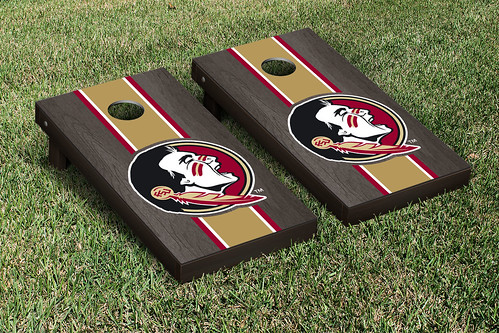 Florida State University FSU Seminoles Cornhole Game Set Onyx Stained Striped
