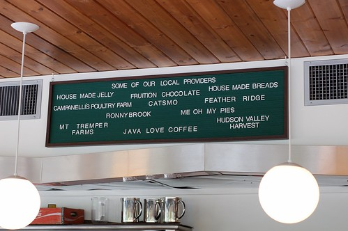 Local suppliers listed above the counter at the Phoenicia Diner by Eve Fox, The Garden of Eating copyright 2014