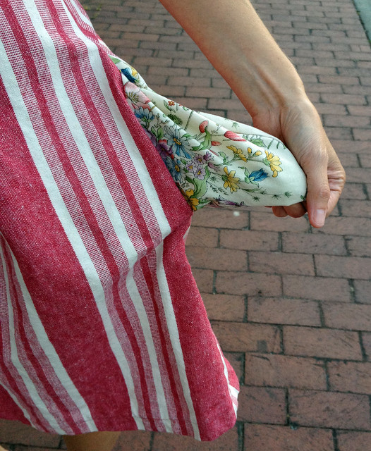 Striped Red Dress Pocket