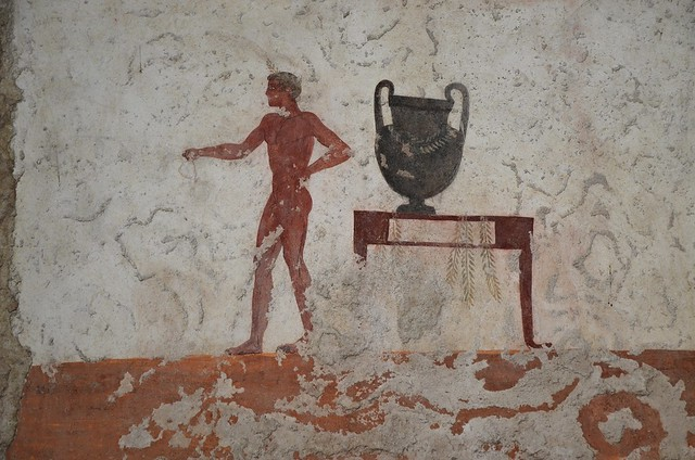 Detail of fresco from lateral walls of the Tomb of the Diver depicting a symposium scene, 5th century BC, Paestum Archaeological Museum