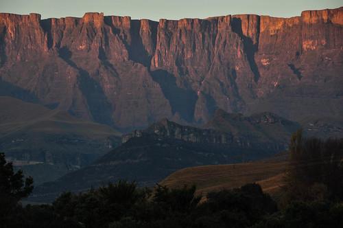 Amphitheatre reflection at sunrise - Ukhahlamba Drakensberg National Park South Africa