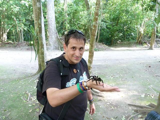Sele con una tarántula sobre su mano en Tikal (Guatemala)