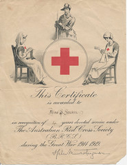 The certificate was awarded to Ivy Jenkin for her excellent service to the Long Plains Branch of the Red Cross