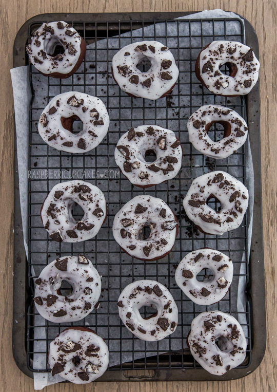 Cookies and Cream Baked Chocolate Doughnuts