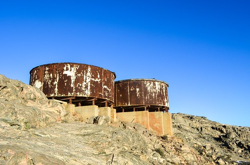 Water tanks on top of Lüderitz, Namibia