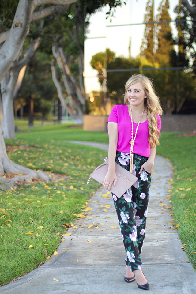 floral jogger pants and t shirt blouse