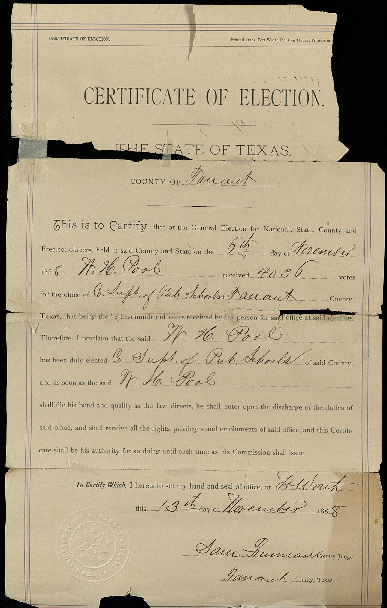 TarrantCountysuperintendentelectioncertificateforWadeHillPool,1888