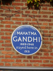 Photo of Mahatma Gandhi blue plaque