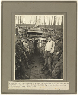 A group of 7th Field Company of Australian Engineers at the entrance to the Catacombs, a system of tunnels built in Hill 63, Messines