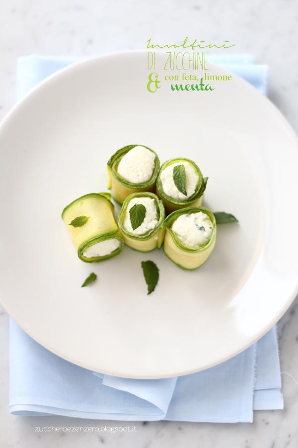 Involtini di zucchine con feta, limone e menta