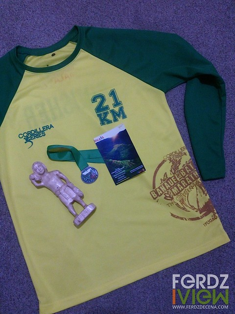 My finisher's shirt with trophy and medal