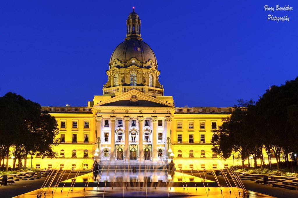 The Alberta Legislature Building in the blue hour