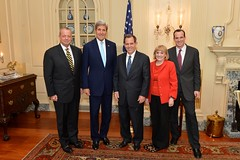 From left to right, General John Allen, U.S. Secretary of State John Kerry, U.S. Ambassador-designate to Iraq Stuart Jones, Assistant Secretary of State for Near Eastern Affairs Anne Patterson, and Deputy Assistant Secretary of State for Near Eastern Affairs Brett McGurk pose for a photo at the swearing-in ceremony for Ambassador Jones at the U.S. Department of State in Washington, D.C., on September 17, 2014. [State Department photo/ Public Domain]