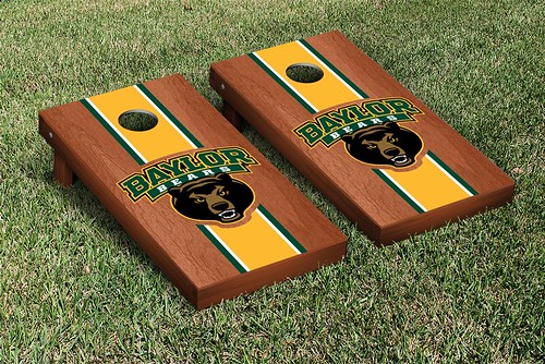 Baylor Bears Cornhole Game Set Rosewood Stained Striped Version