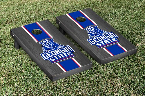 Georgia State Panthers Cornhole Game Set Onyx Stained Stripe Version