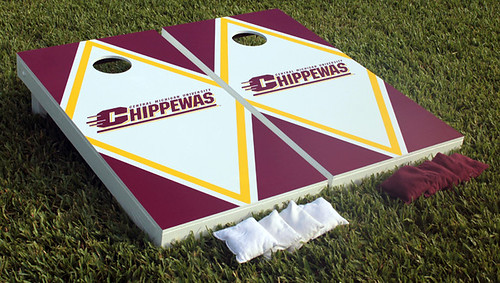 Central Michigan Chippewas Cornhole Game Set Script Diamond Wooden