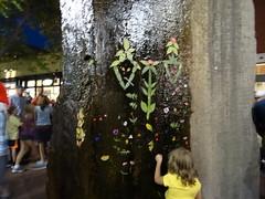 Blätter und Blüten am Brunnen