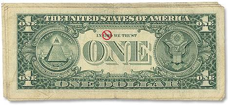 Dollar bill with No God overstamp