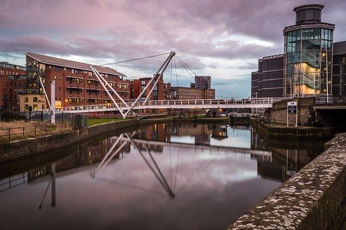 bridge sunset reflection building clouds river cloudy leeds royal aire armouries