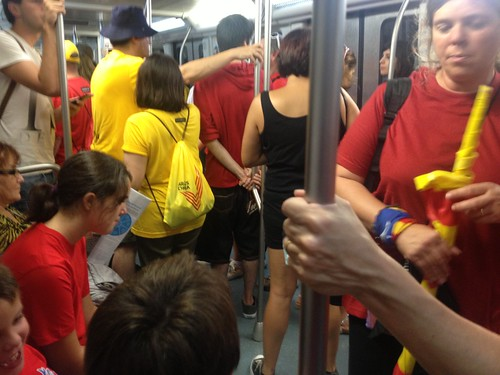 Lots of red and yellow t-shirts in the metro