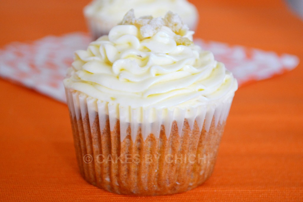 Tropical cupcake with ginger cream cheese