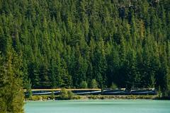 Rocky Mountaineer alongside Green Lake