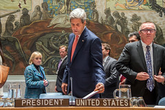 U.S. Secretary of State John Kerry lays down his notes before chairing a United Nations Security Council meeting about Iraq in New York City on September 19, 2014. [State Department photo/ Public Domain]