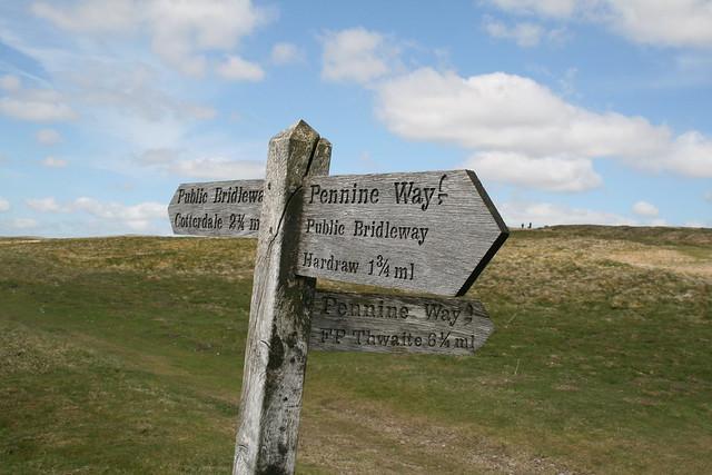 Pennine Way sign on Great Shunner Fell