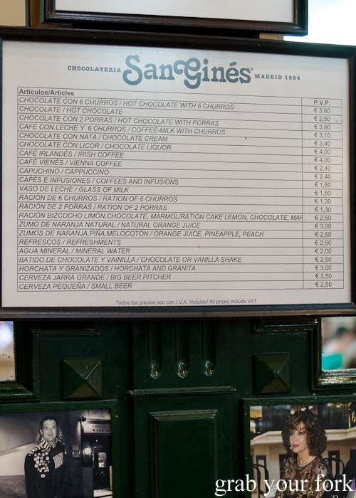 Chocolateria San Gines menu in Madrid, Spain