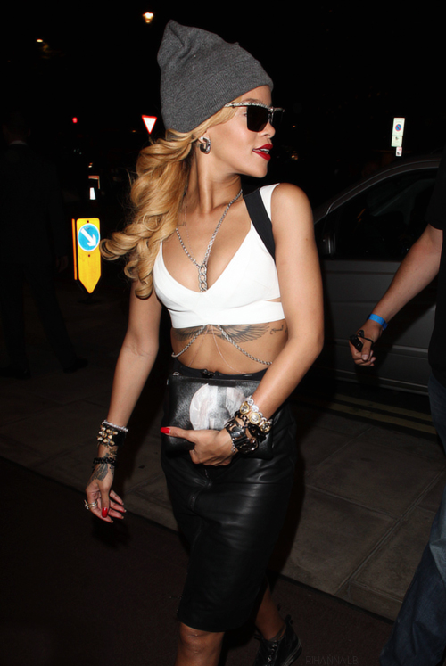 la-modella-mafia-Rihanna-clubbing-party-chic-2013-fashion-in-a-white-crop-top-high-waisted-leather-skirt-crystal-belly-body-chain-a-gray-beanie-sneakers-and-a-Givenchy-Madonna-clutch-pouch-1