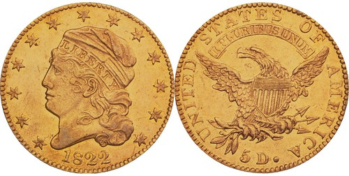 1822 Five Dollar gold piece