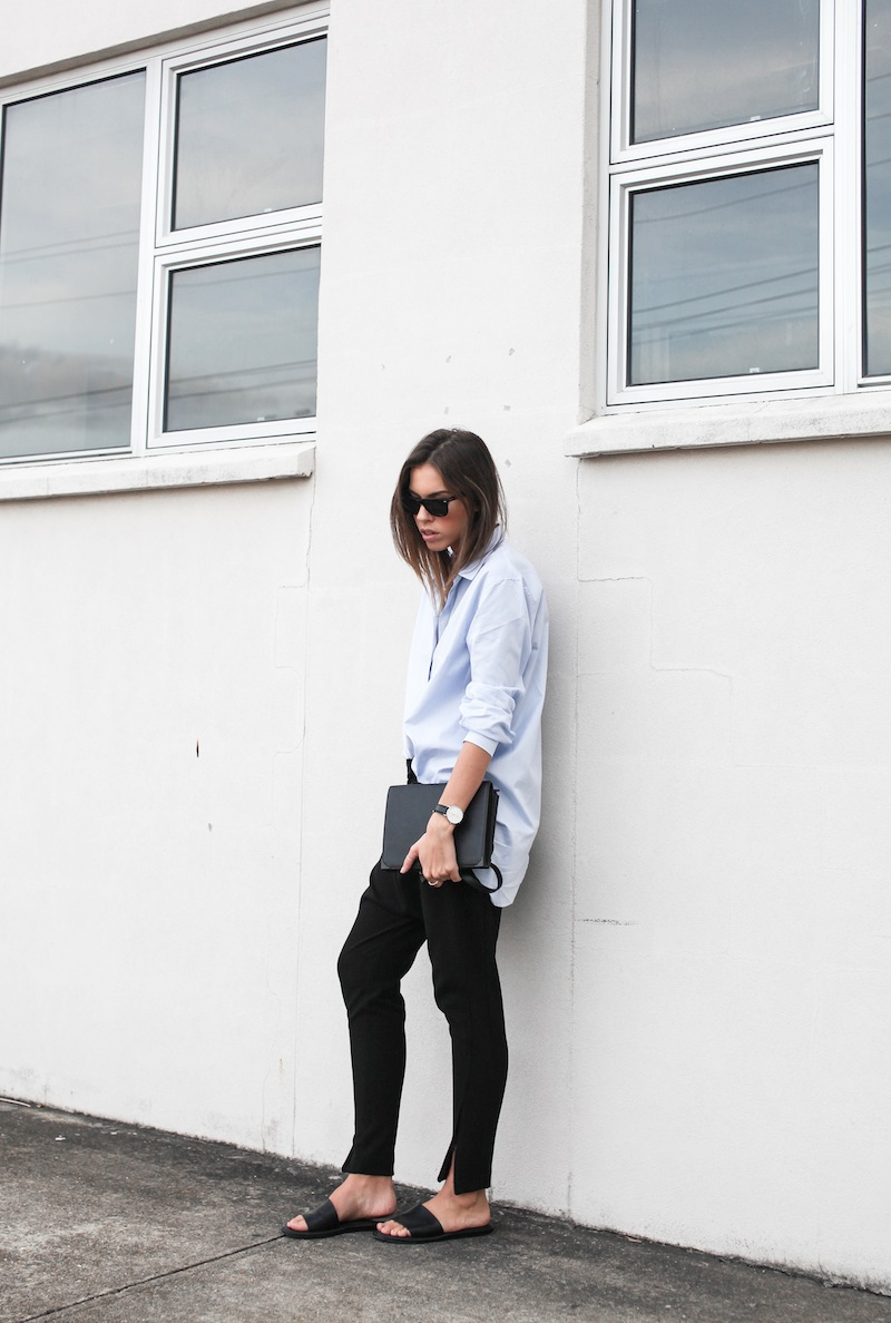modern legacy blog kaity street style off duty minimalist man style shirt ankle zip pants Camilla and Marc slide sandals Common Projects Alexander Wang Prisma envelope clutch black blue (2 of 7)